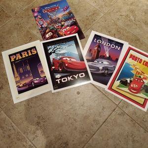 Disney Cars lithograph prints 4pc
